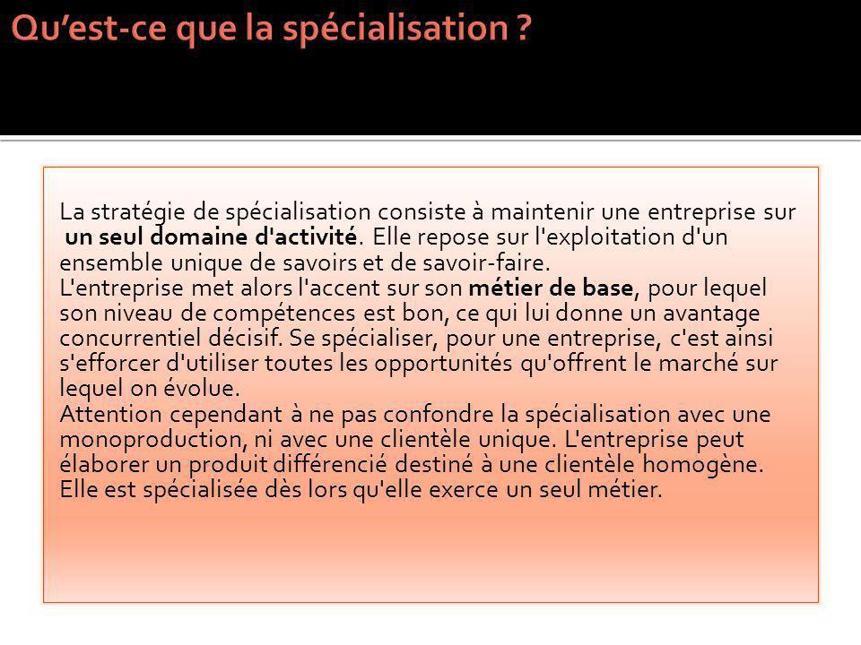Qu'est-ce que la spécialisation
