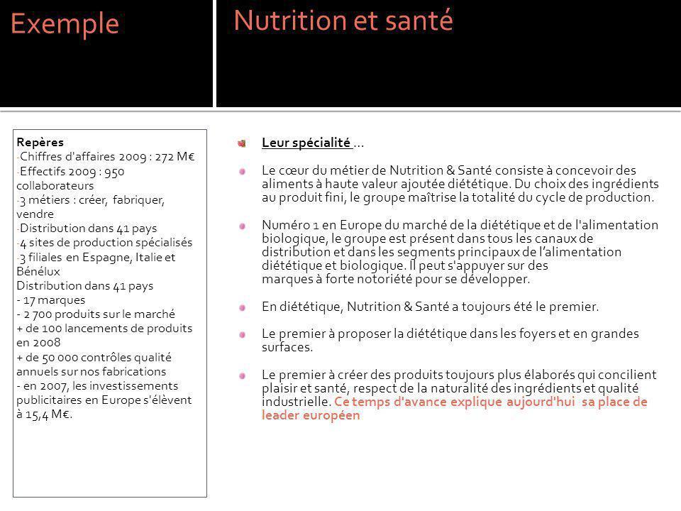 Exemple Nutrition et santé Leur spécialité …