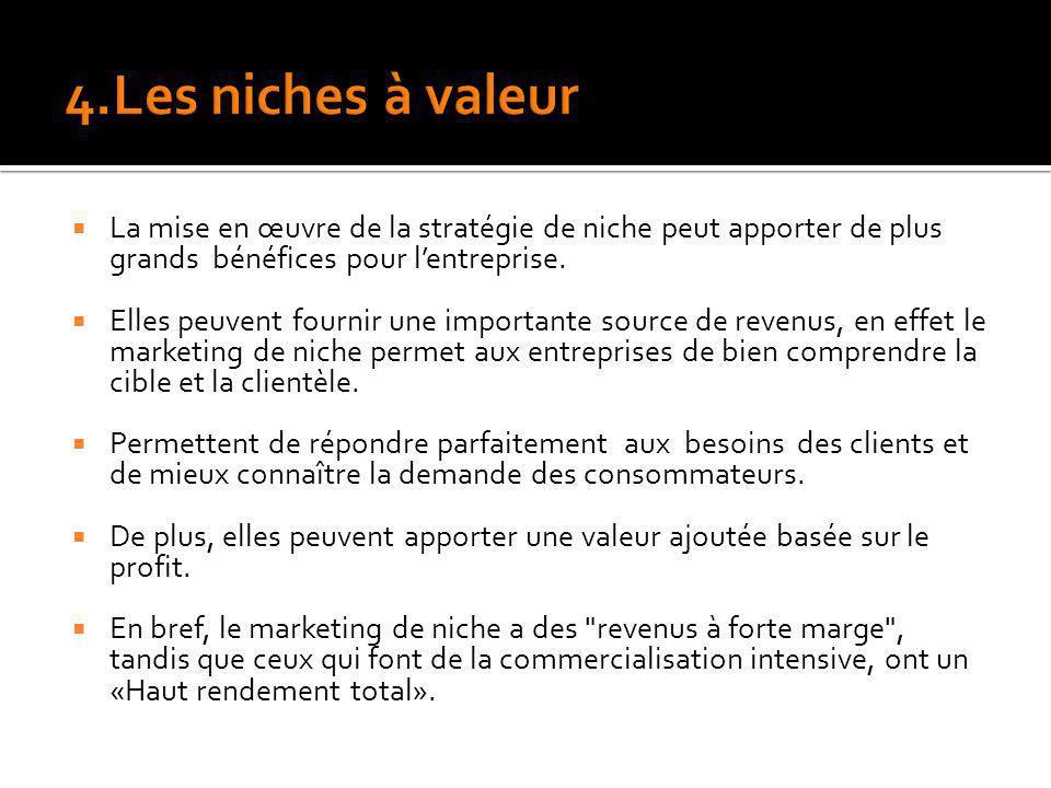 4.Les niches à valeur La mise en œuvre de la stratégie de niche peut apporter de plus grands bénéfices pour l'entreprise.