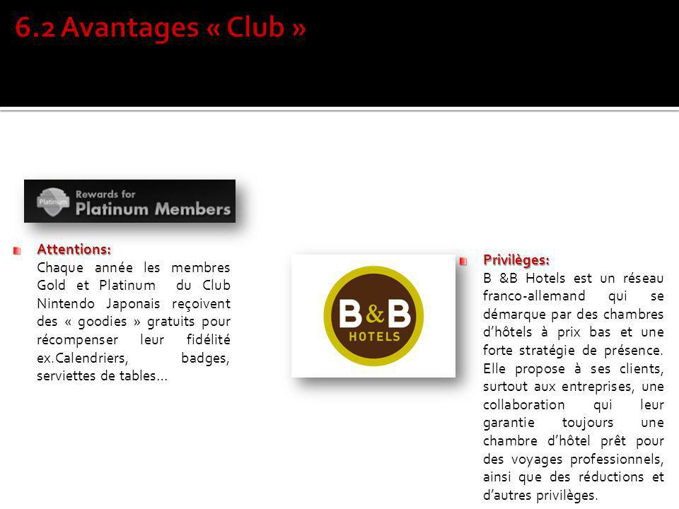 6.2 Avantages « Club » Attentions: