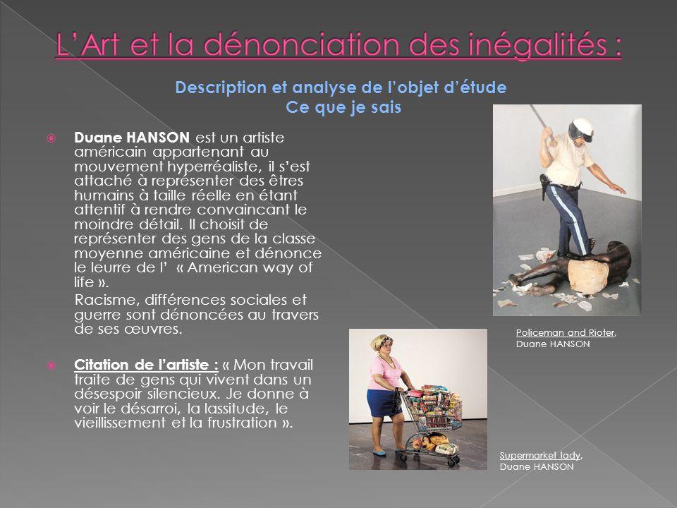 L'Art et la dénonciation des inégalités :