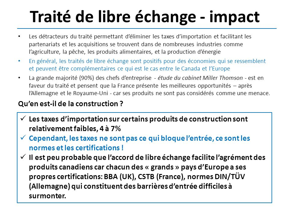 Traité de libre échange - impact