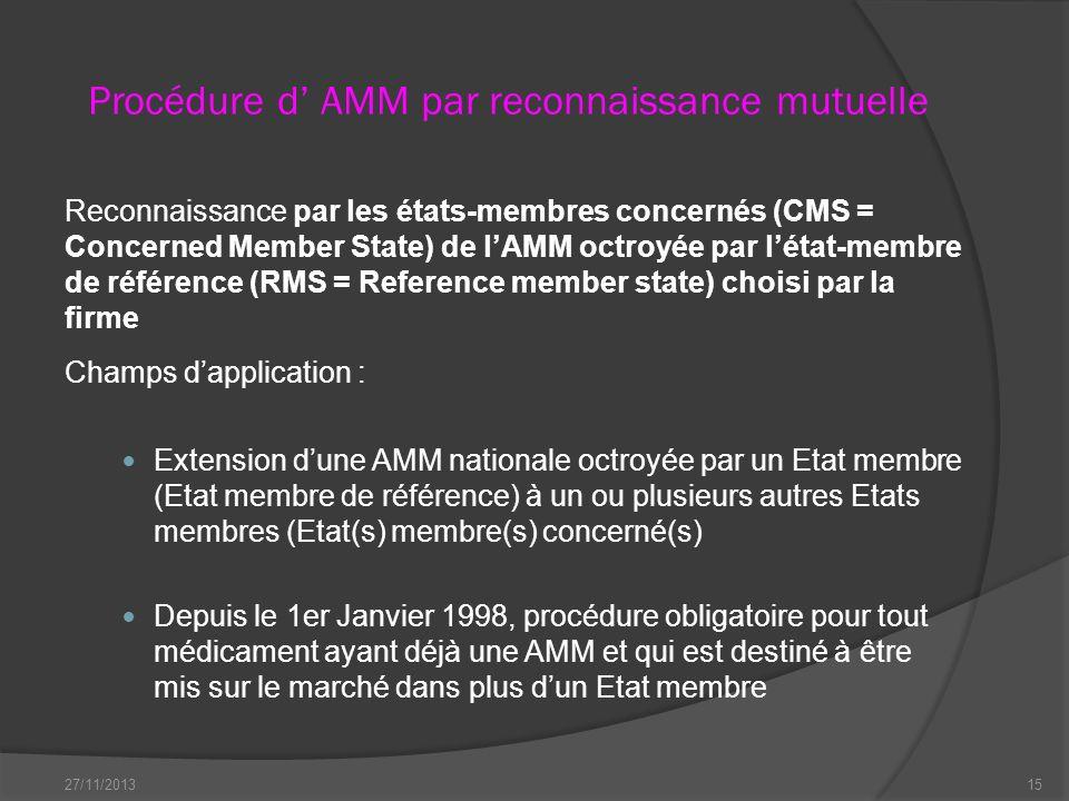 Procédure d' AMM par reconnaissance mutuelle