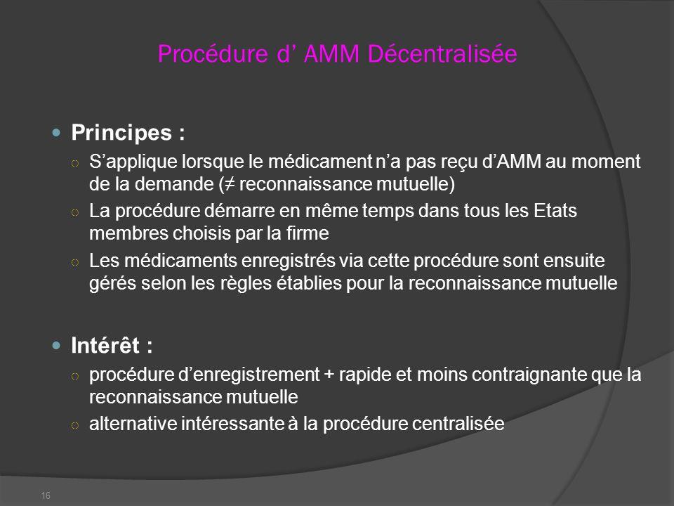 Procédure d' AMM Décentralisée