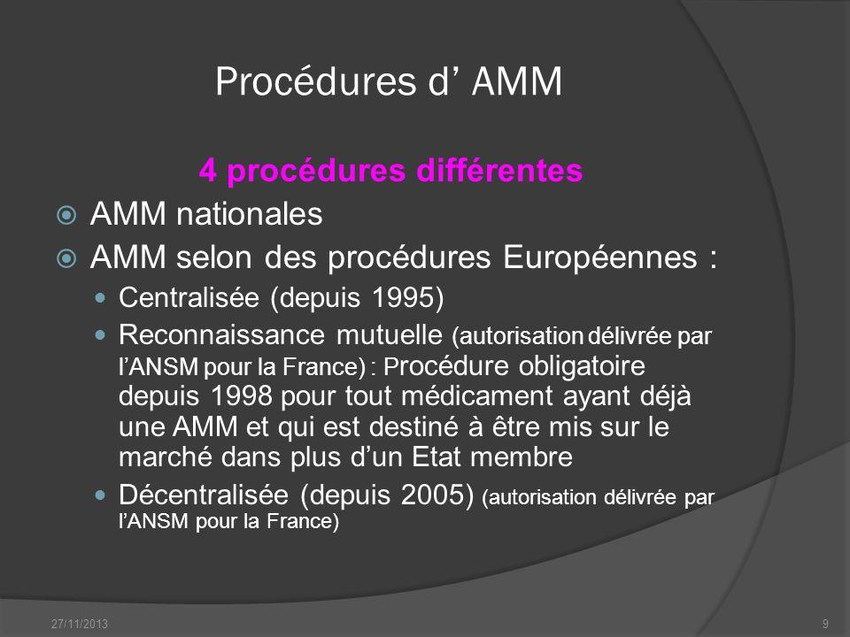4 procédures différentes