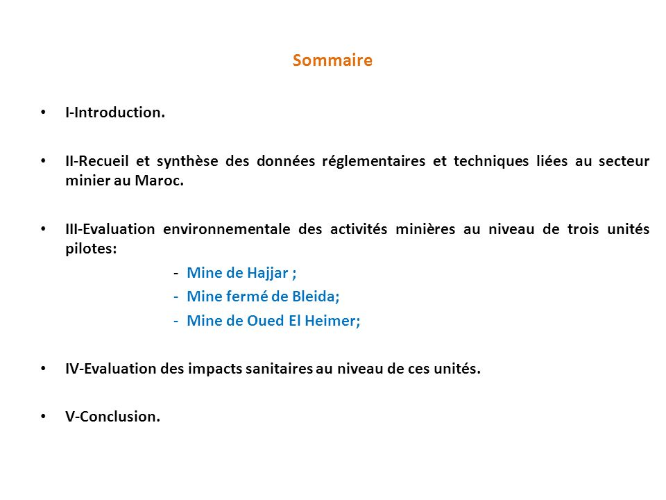 Sommaire I-Introduction.