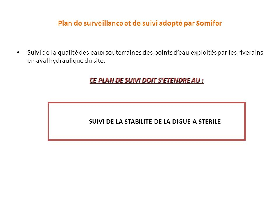 Plan de surveillance et de suivi adopté par Somifer