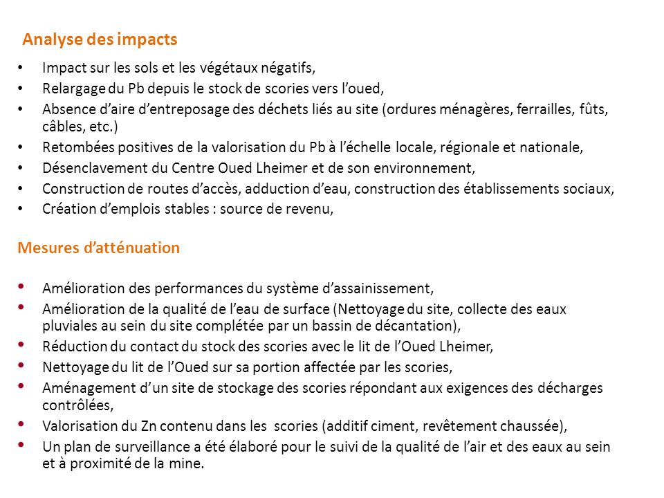 Analyse des impacts Mesures d'atténuation