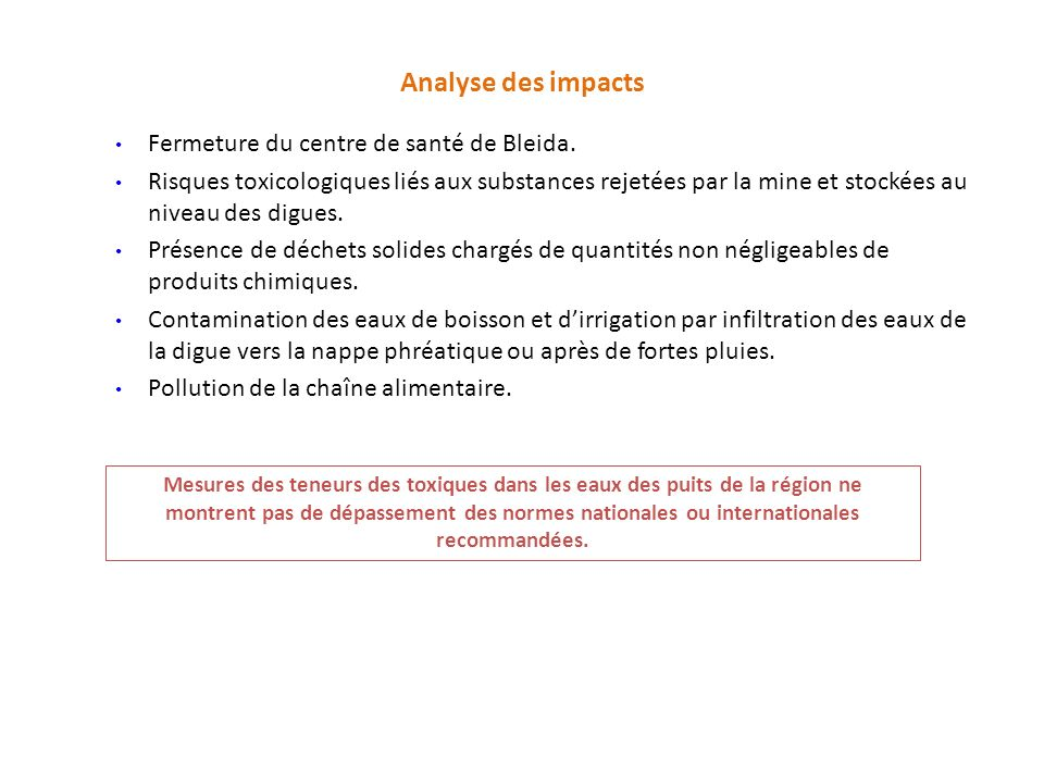 Analyse des impacts Fermeture du centre de santé de Bleida.