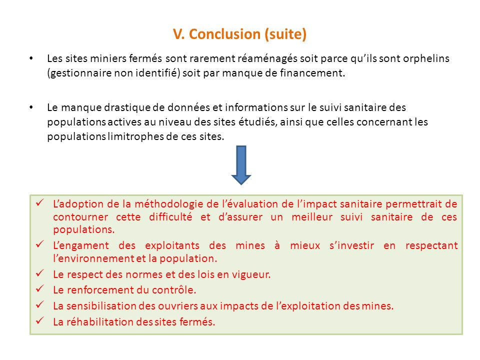 V. Conclusion (suite)