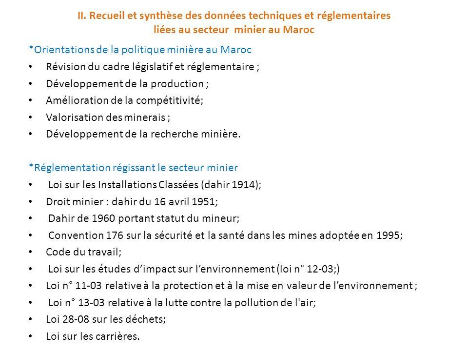 II. Recueil et synthèse des données techniques et réglementaires liées au secteur minier au Maroc