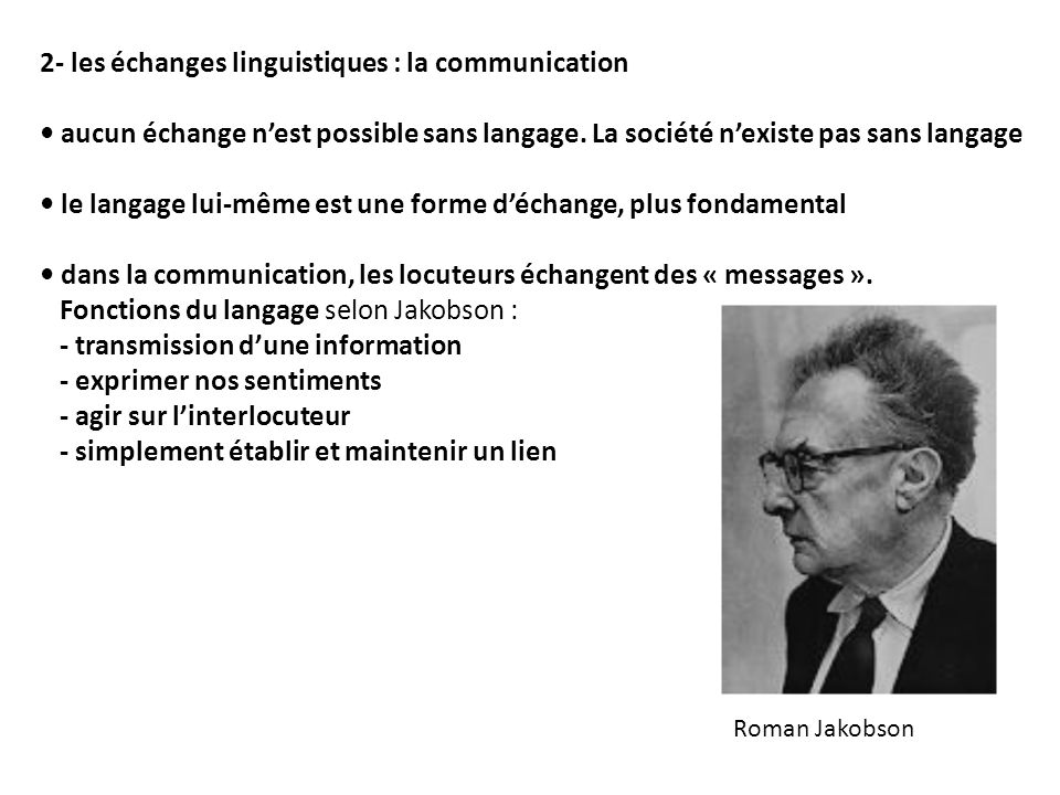 2- les échanges linguistiques : la communication