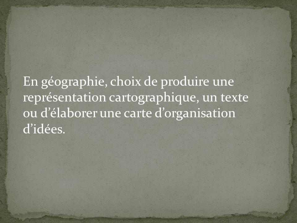 En géographie, choix de produire une représentation cartographique, un texte ou d'élaborer une carte d'organisation d'idées.