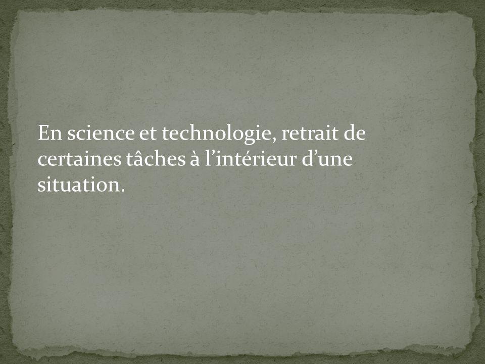 En science et technologie, retrait de certaines tâches à l'intérieur d'une situation.