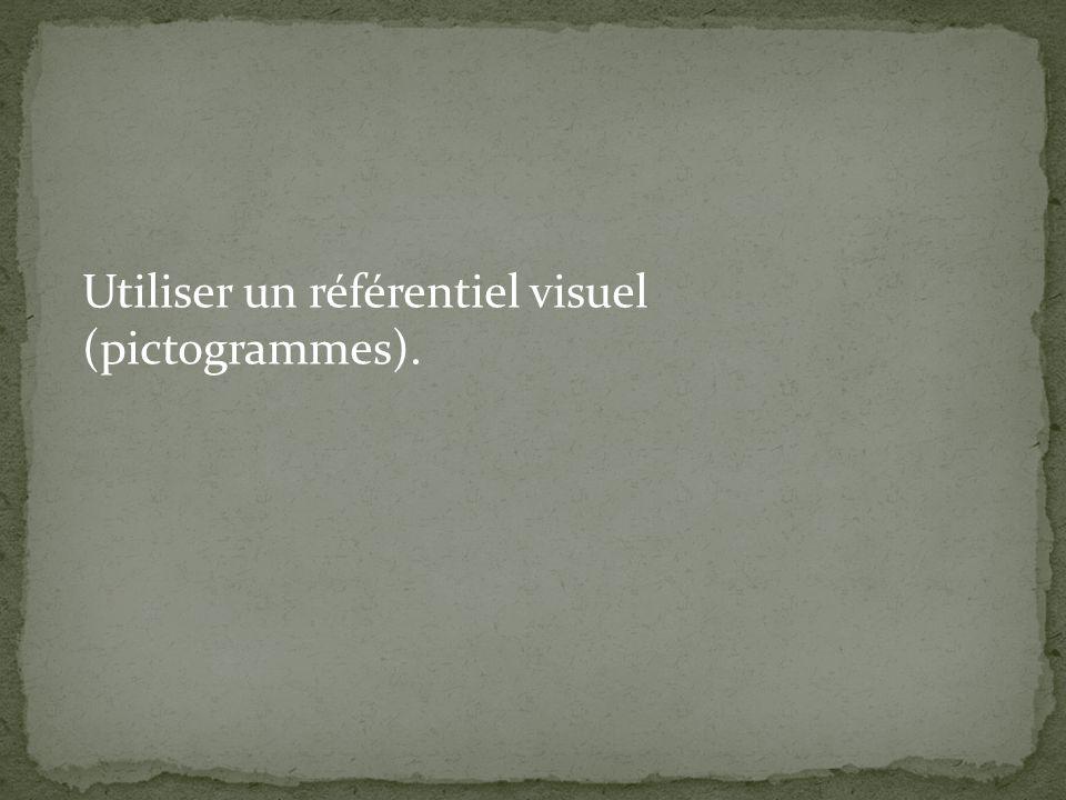 Utiliser un référentiel visuel (pictogrammes).