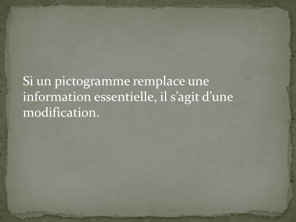 Si un pictogramme remplace une information essentielle, il s'agit d'une modification.