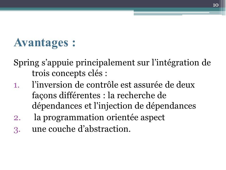 Avantages : Spring s'appuie principalement sur l'intégration de trois concepts clés :