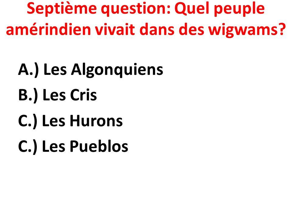 Septième question: Quel peuple amérindien vivait dans des wigwams
