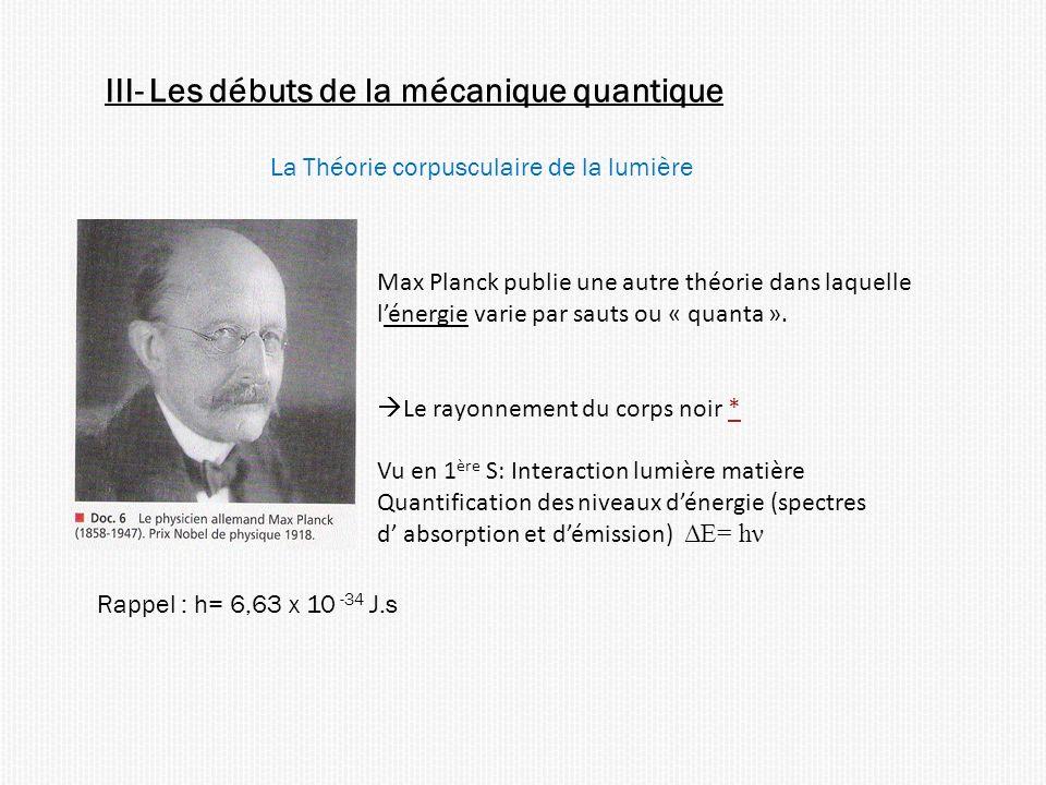 III- Les débuts de la mécanique quantique