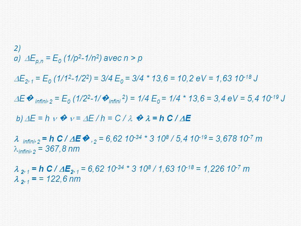 2) a) DEp,n = E0 (1/p2-1/n2) avec n > p. DE2,1 = E0 (1/12-1/22) = 3/4 E0 = 3/4 * 13,6 = 10,2 eV = 1,63 10-18 J.