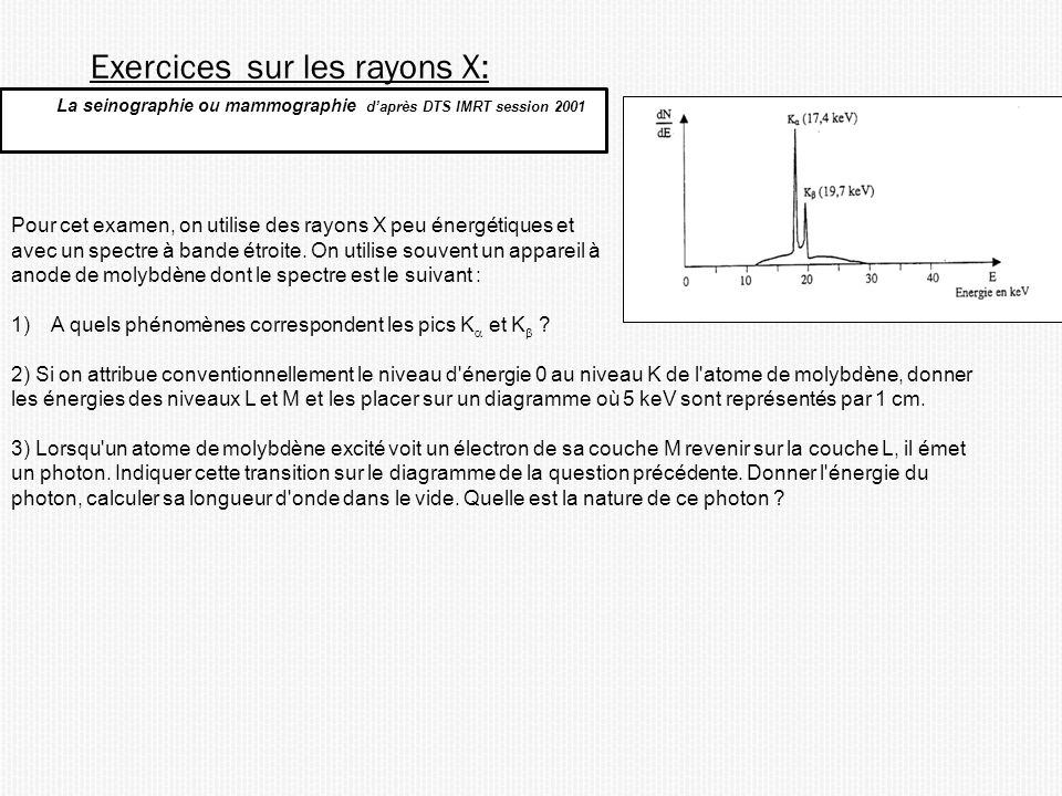 Exercices sur les rayons X: