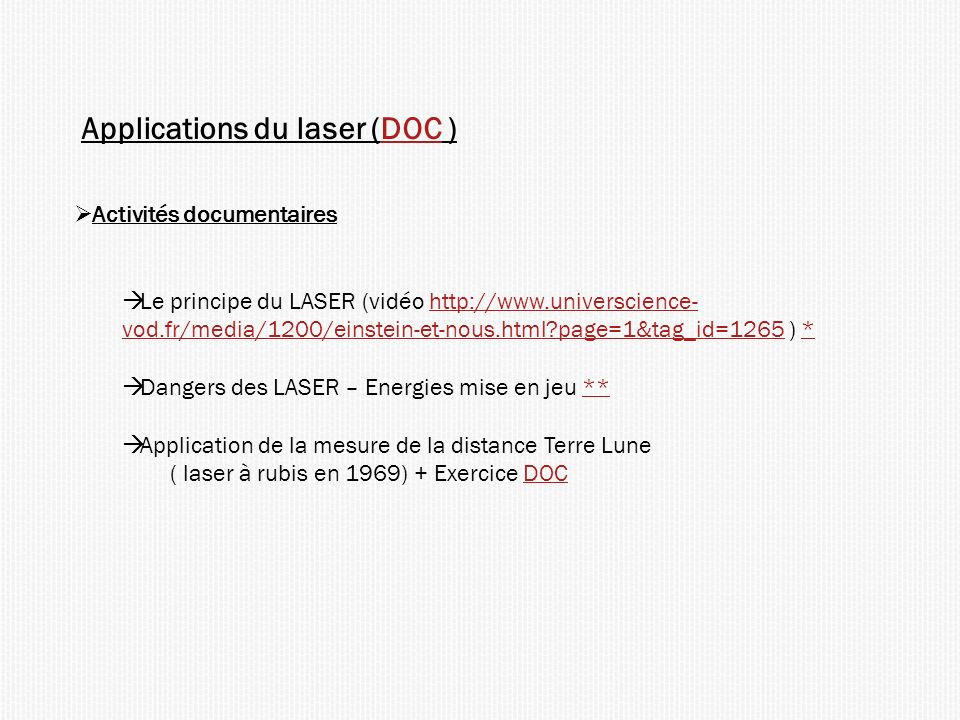 Applications du laser (DOC )