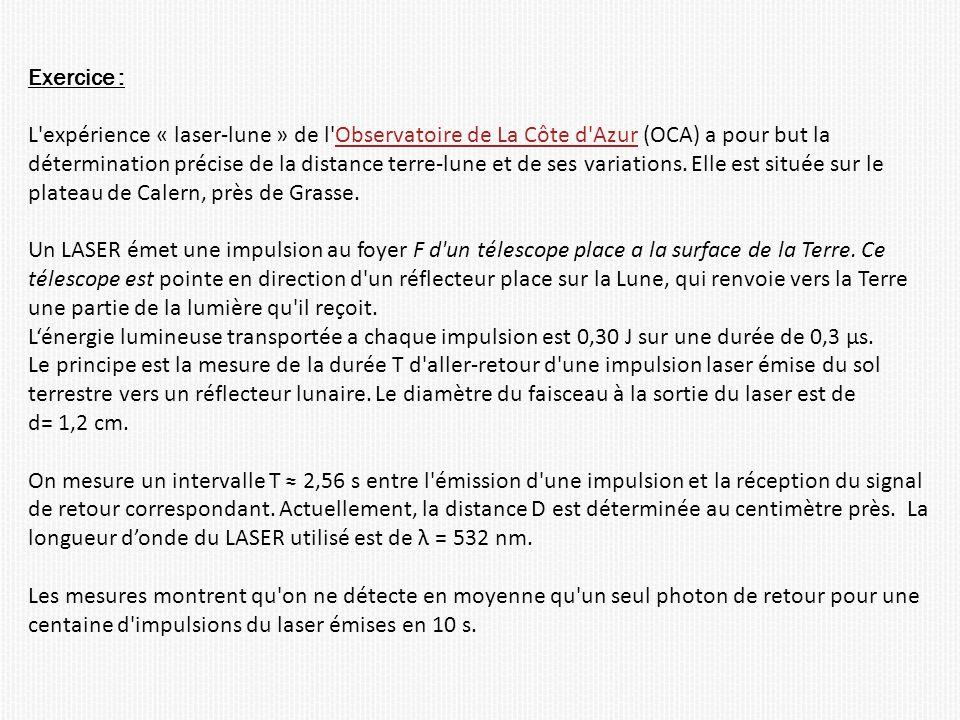 Exercice : L expérience « laser-lune » de l Observatoire de La Côte d Azur (OCA) a pour but la.