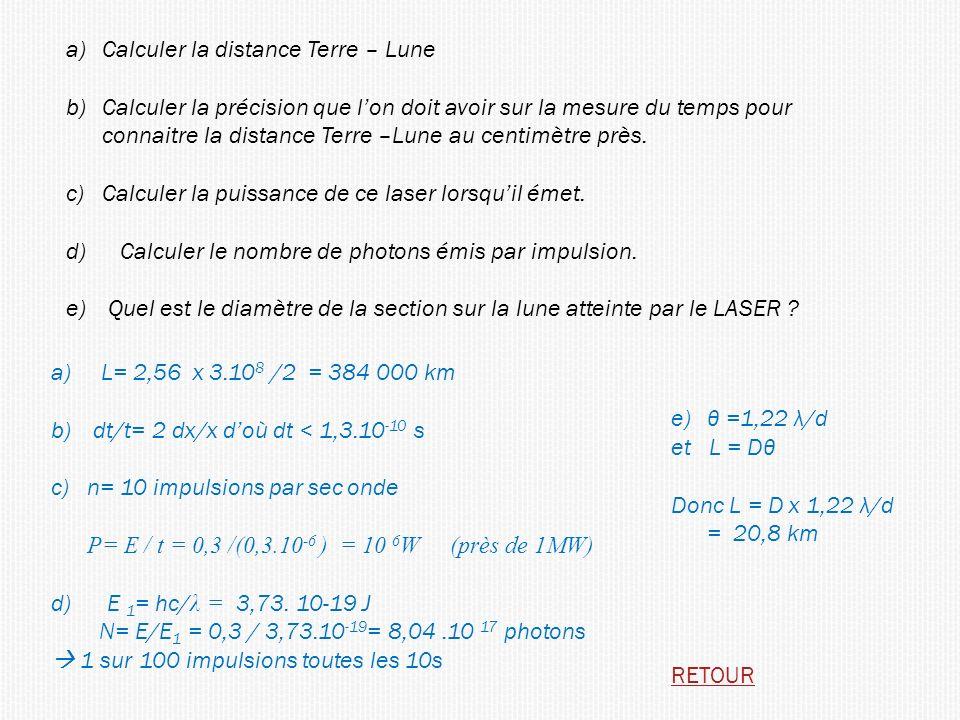 Calculer la distance Terre – Lune