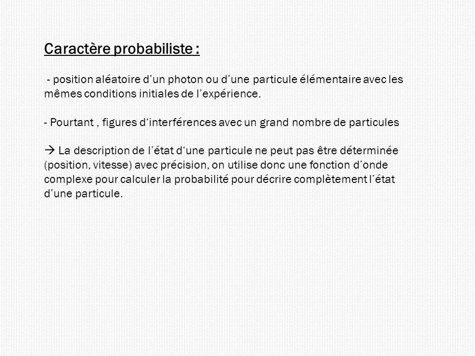 Caractère probabiliste :