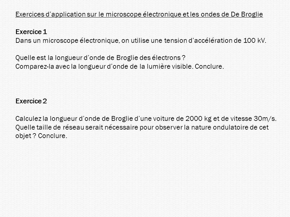 Exercices d'application sur le microscope électronique et les ondes de De Broglie