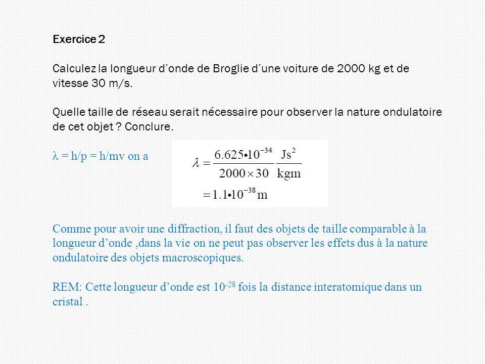 Exercice 2 Calculez la longueur d'onde de Broglie d'une voiture de 2000 kg et de vitesse 30 m/s.