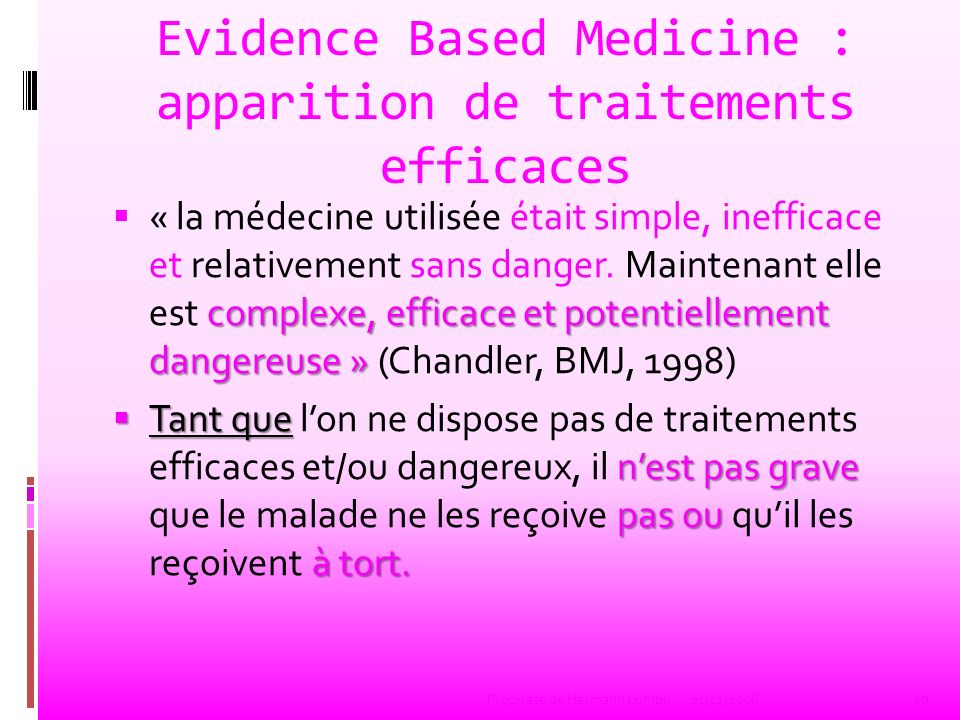 Evidence Based Medicine : apparition de traitements efficaces