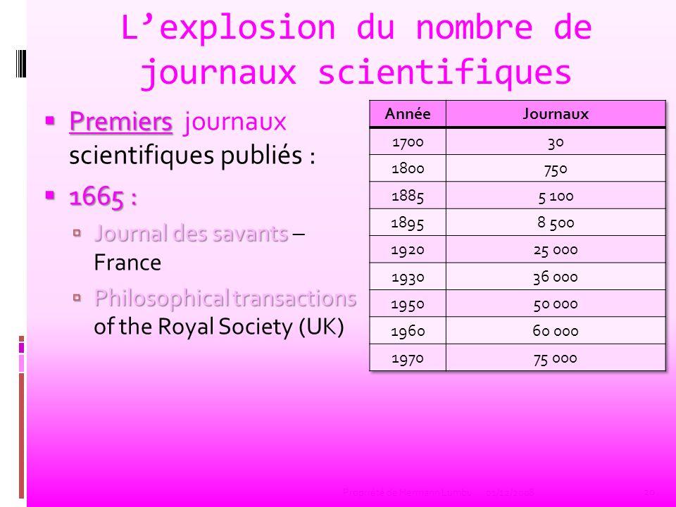 L'explosion du nombre de journaux scientifiques