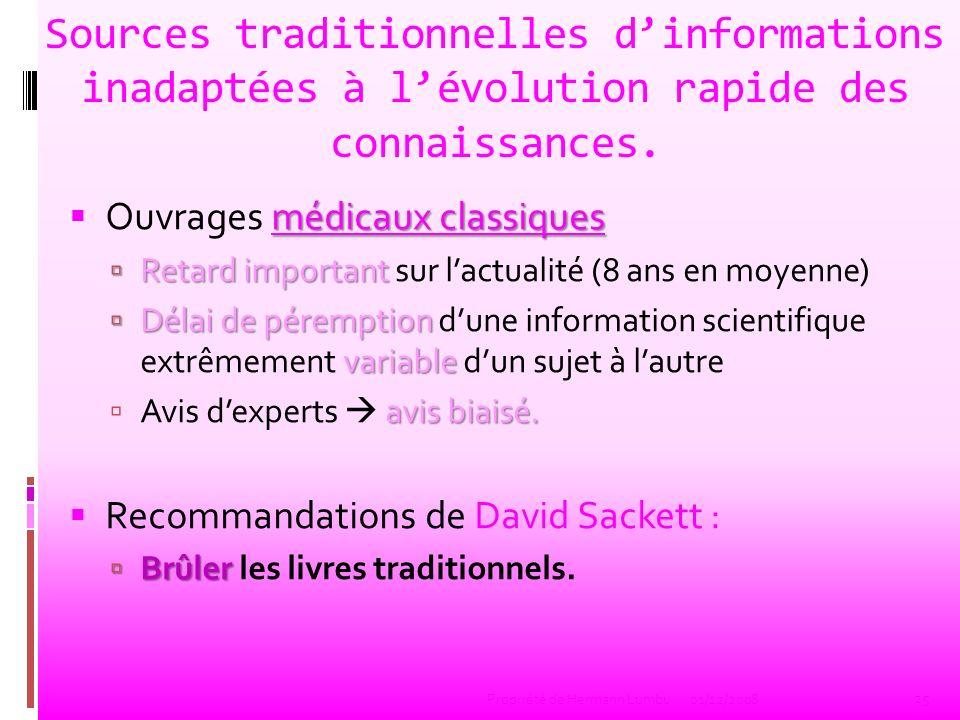 Sources traditionnelles d'informations inadaptées à l'évolution rapide des connaissances.