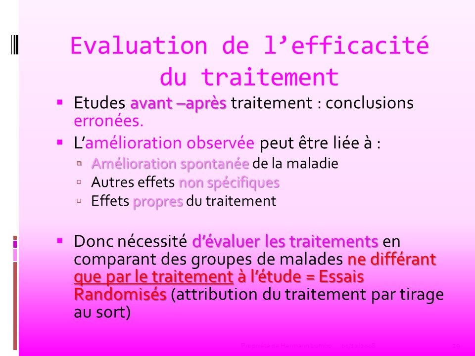 Evaluation de l'efficacité du traitement