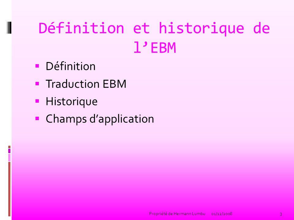 Définition et historique de l'EBM