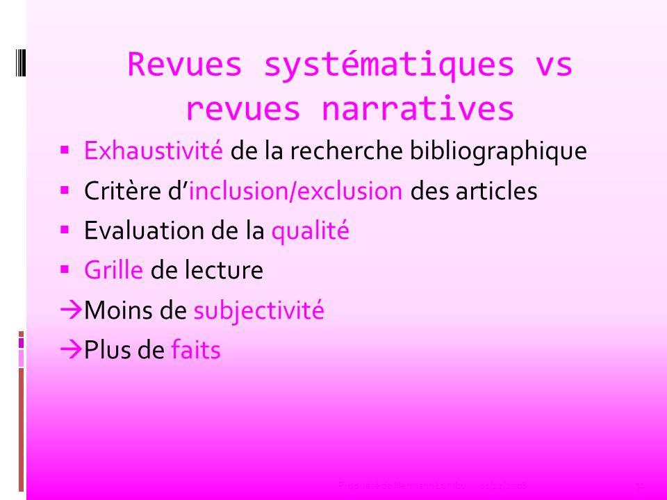 Revues systématiques vs revues narratives