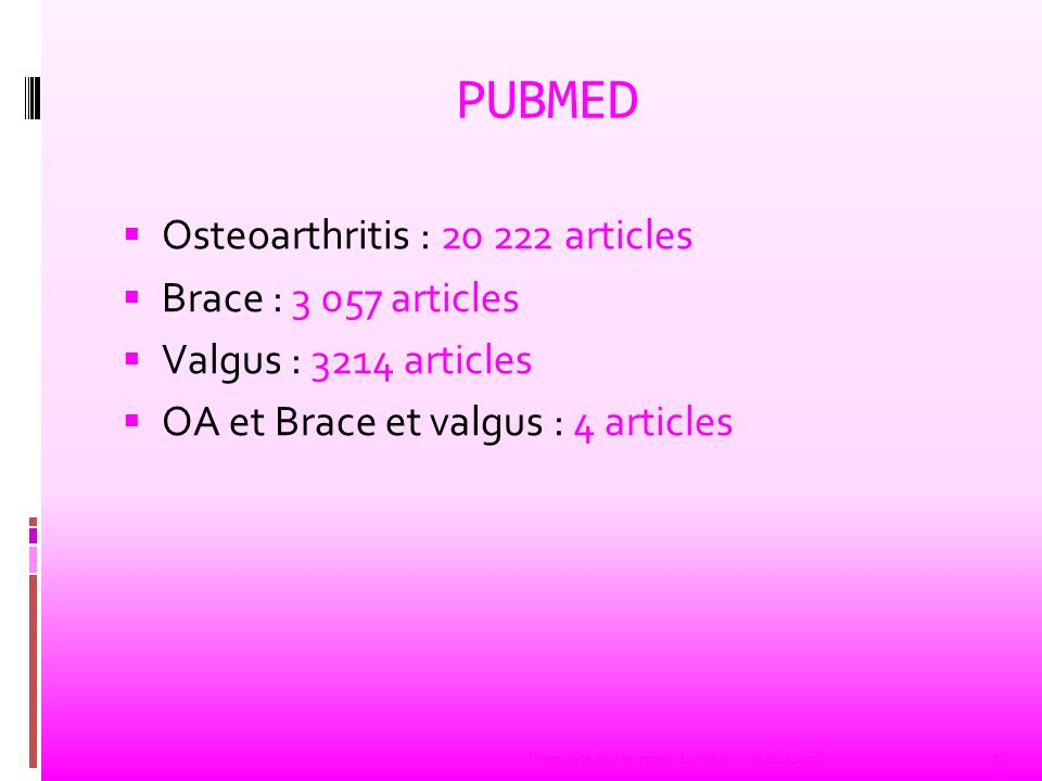 PUBMED Osteoarthritis : articles Brace : articles