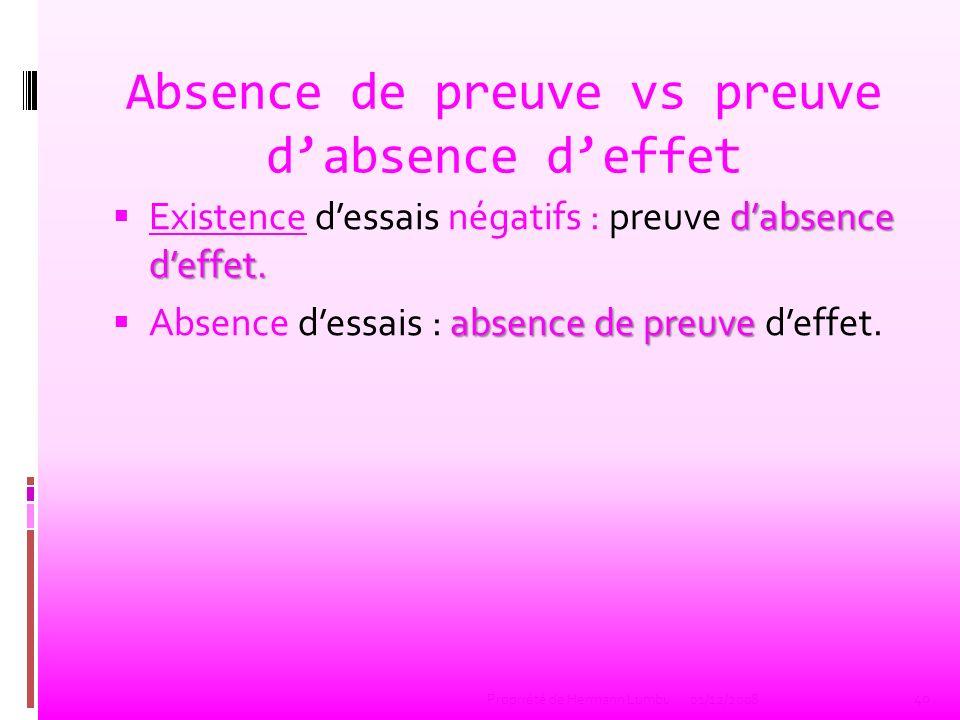 Absence de preuve vs preuve d'absence d'effet