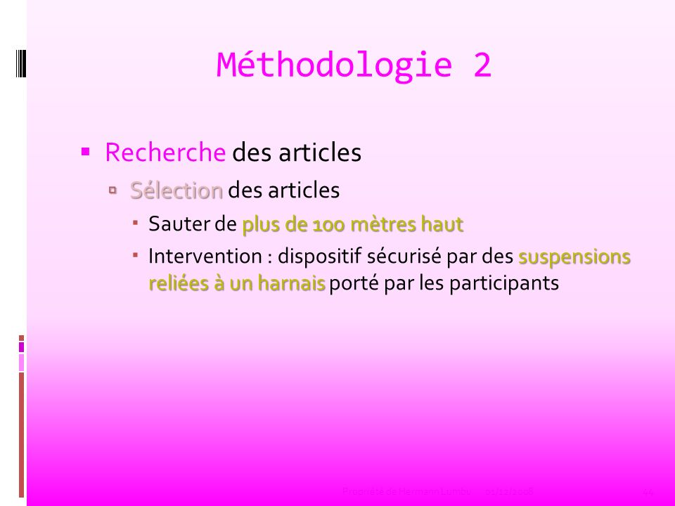 Méthodologie 2 Recherche des articles Sélection des articles