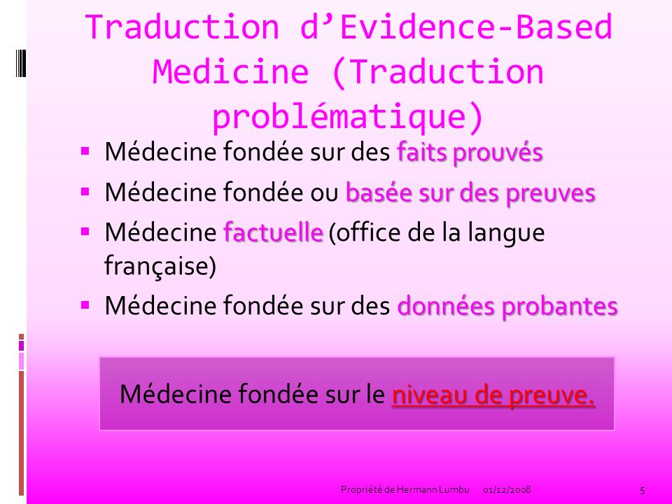 Traduction d'Evidence-Based Medicine (Traduction problématique)