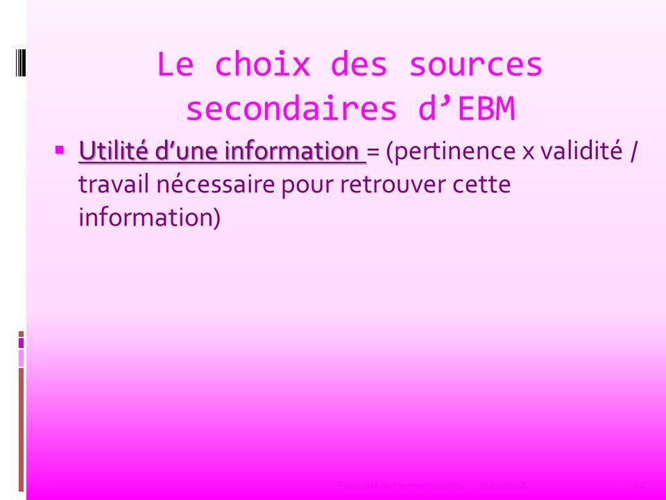 Le choix des sources secondaires d'EBM