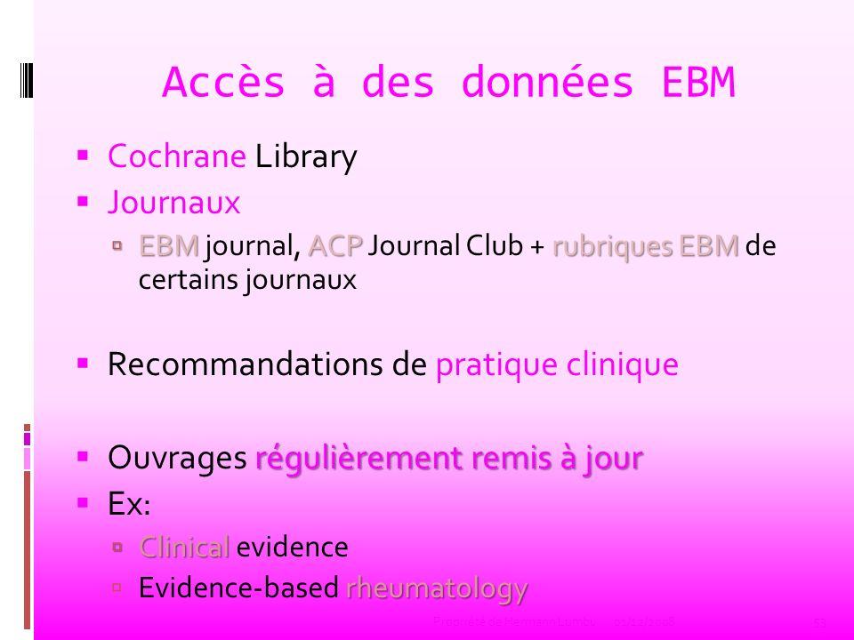 Accès à des données EBM Cochrane Library Journaux