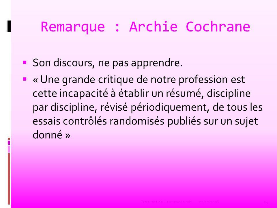 Remarque : Archie Cochrane