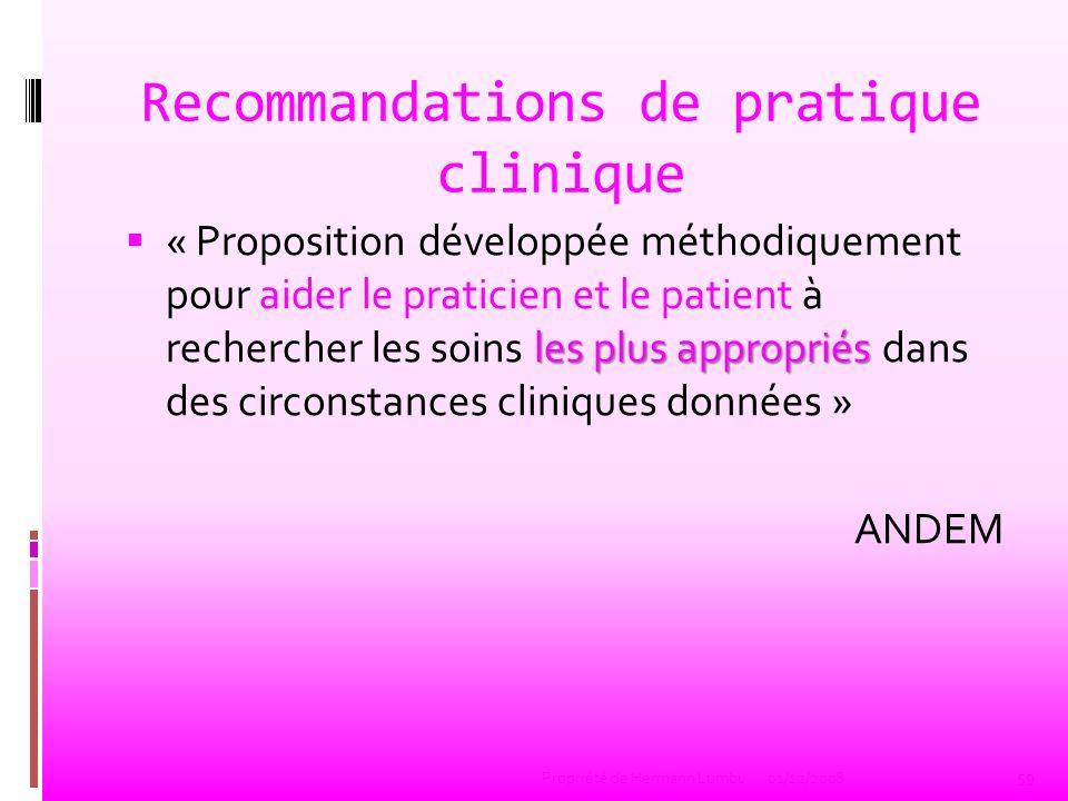 Recommandations de pratique clinique