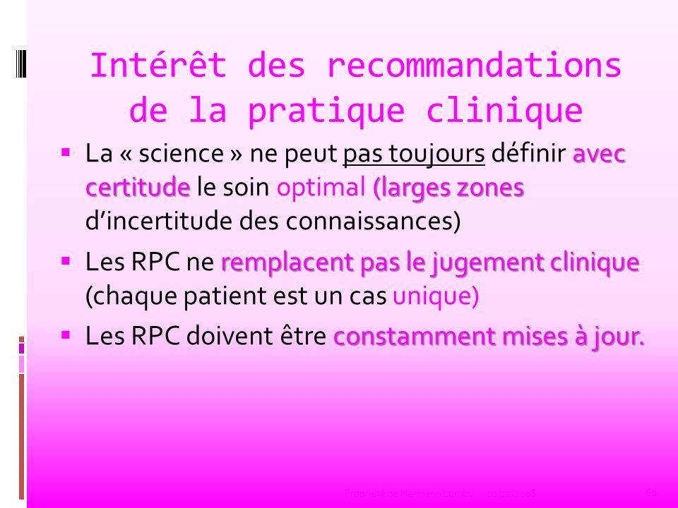 Intérêt des recommandations de la pratique clinique