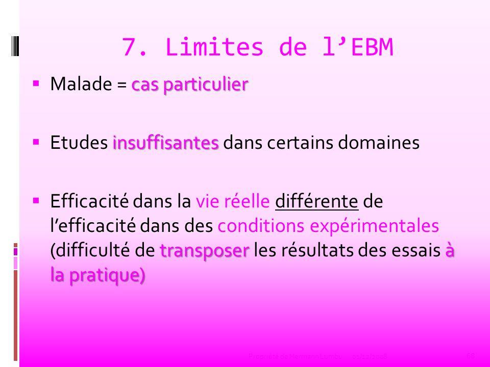 7. Limites de l'EBM Malade = cas particulier