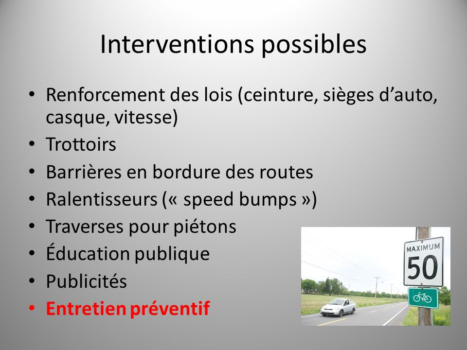 Interventions possibles