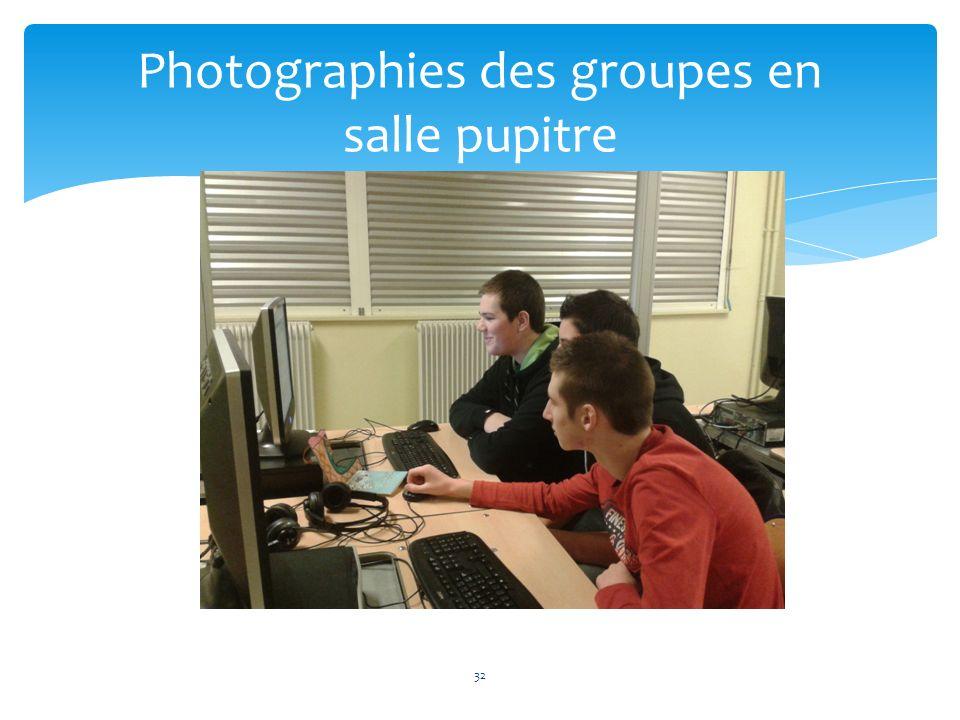 Photographies des groupes en salle pupitre