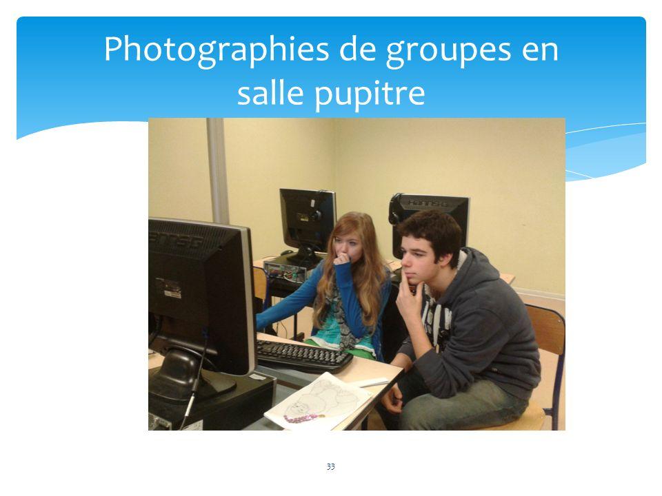 Photographies de groupes en salle pupitre